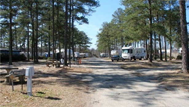 Entrance to recreational camper vehicle center and campground in Byron Georgia