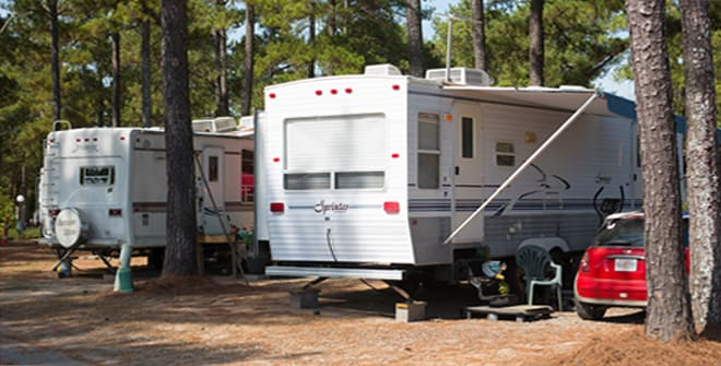 Recreational camping vehicles parked in campground in Byron Georgia