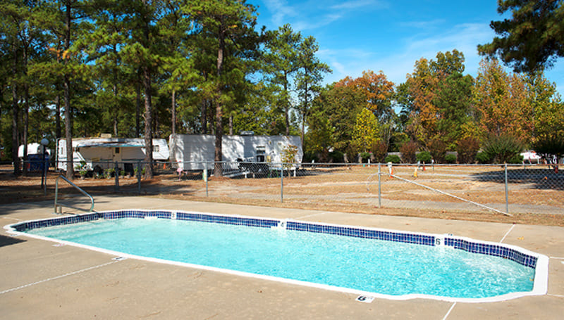 Outdoor swimming pool in the Interstate RV Center and Campground in Byron Georgia