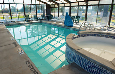 Indoor swimming pool and hot tub at a nationally known hotel in Byron Georgia