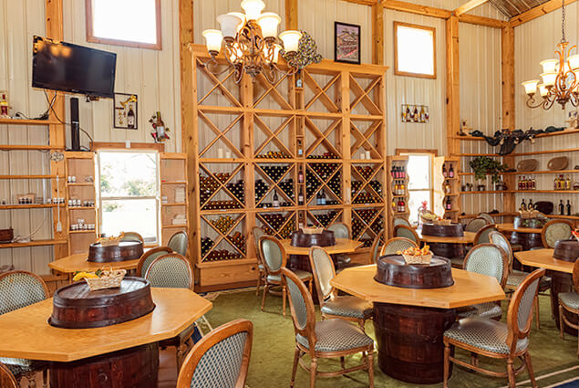 Wine tasting room in Cane River Winery in Byron Georgia